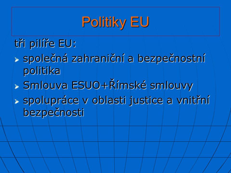 Politiky EU tři pilíře EU:  společná zahraniční a bezpečnostní politika  Smlouva ESUO+Římské smlouvy  spolupráce v oblasti justice a vnitřní bezpeč