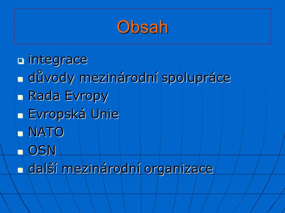 Obsah  integrace důvody mezinárodní spolupráce důvody mezinárodní spolupráce Rada Evropy Rada Evropy Evropská Unie Evropská Unie NATO NATO OSN OSN da