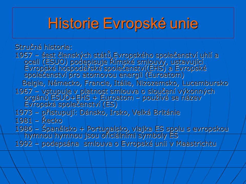 Historie Evropské unie 1993 – vzniká Jednotný evropský trh: odstranění administrativy mezi členskými zeměmi volný pohyb zboží právo pobytu občanů Unie na libovolně volenou dobu v jiném členském státě uznávání dokladů o kvalifikaci všemi členskými státy… 1995 – přistupují Rakousko, Finsko, Švédsko 1997 – Amsterodamská smlouva – podmínky pro vznik Hospodářské a měnové unie 1999 – vzniká Hospodářská a měnová unie – společná měna Euro 1.5.2004 – přistupuje 10 států k EU: ČR, Slovensko, Polsko, Maďarsko,Estonsko, Lotyšsko,Litva, Kypr, Malta, Slovinsko