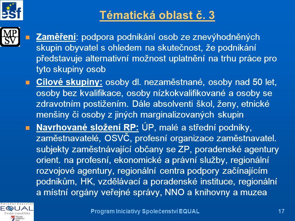Program Iniciativy Společenství EQUAL17 Tématická oblast č.