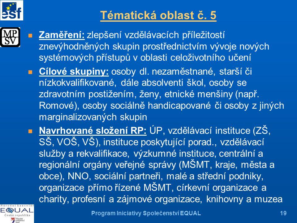 Program Iniciativy Společenství EQUAL19 Tématická oblast č.