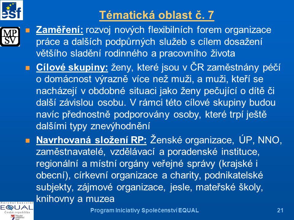 Program Iniciativy Společenství EQUAL21 Tématická oblast č.