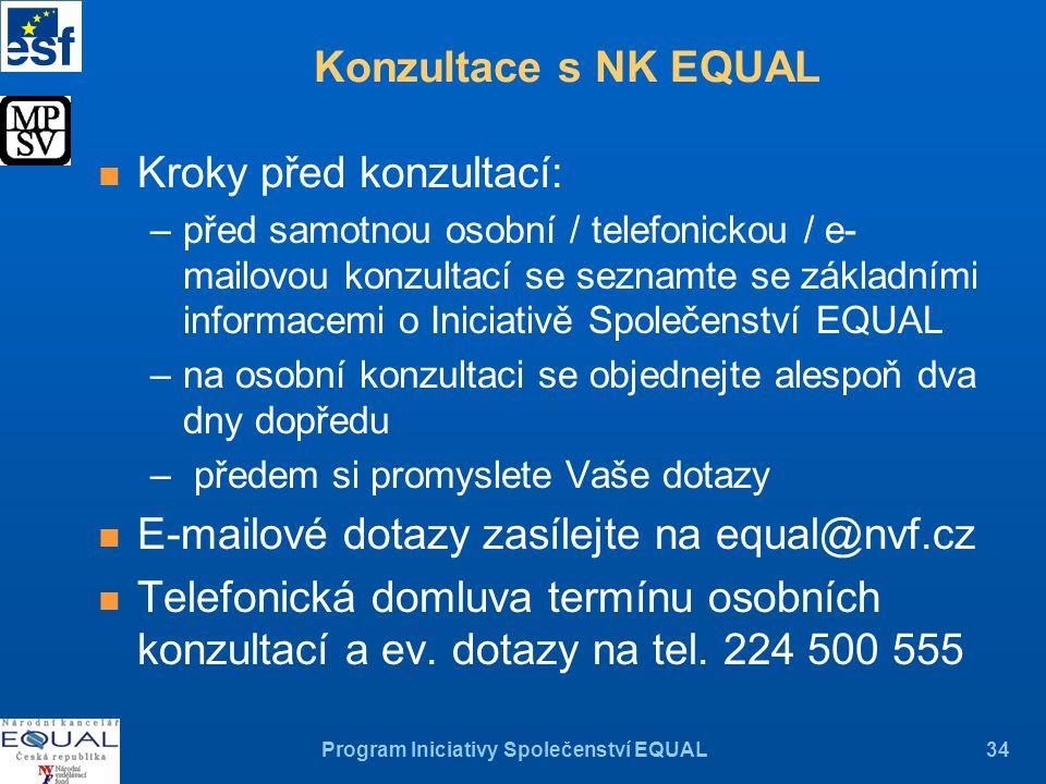Program Iniciativy Společenství EQUAL34 n Kroky před konzultací: –před samotnou osobní / telefonickou / e- mailovou konzultací se seznamte se základními informacemi o Iniciativě Společenství EQUAL –na osobní konzultaci se objednejte alespoň dva dny dopředu – předem si promyslete Vaše dotazy n E-mailové dotazy zasílejte na equal@nvf.cz n Telefonická domluva termínu osobních konzultací a ev.