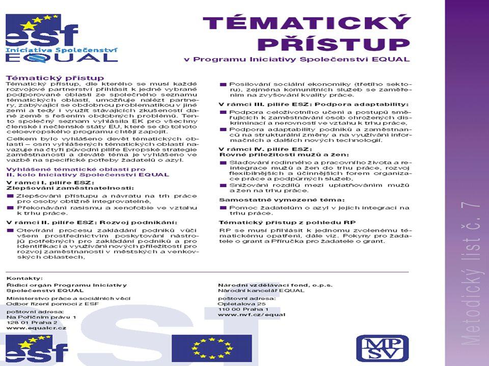 Program Iniciativy Společenství EQUAL25 n Informace požadované od žadatele v přihlášce: –Identifikace programu –Identifikace projektu a informace o RP (název projektu, regionové hledisko, sektorové hledisko, výše požadovaného grantu, předpoklád.