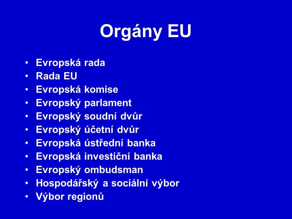 Orgány EU Evropská rada Rada EU Evropská komise Evropský parlament Evropský soudní dvůr Evropský účetní dvůr Evropská ústřední banka Evropská investiční banka Evropský ombudsman Hospodářský a sociální výbor Výbor regionů