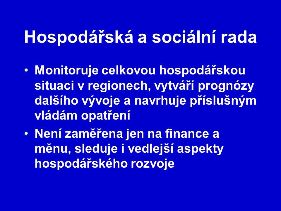 Hospodářská a sociální rada Monitoruje celkovou hospodářskou situaci v regionech, vytváří prognózy dalšího vývoje a navrhuje příslušným vládám opatření Není zaměřena jen na finance a měnu, sleduje i vedlejší aspekty hospodářského rozvoje