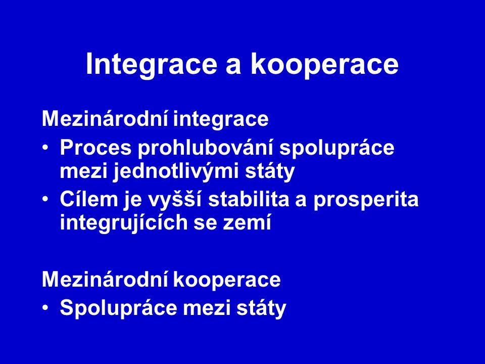 Integrace a kooperace Mezinárodní integrace Proces prohlubování spolupráce mezi jednotlivými státy Cílem je vyšší stabilita a prosperita integrujících se zemí Mezinárodní kooperace Spolupráce mezi státy