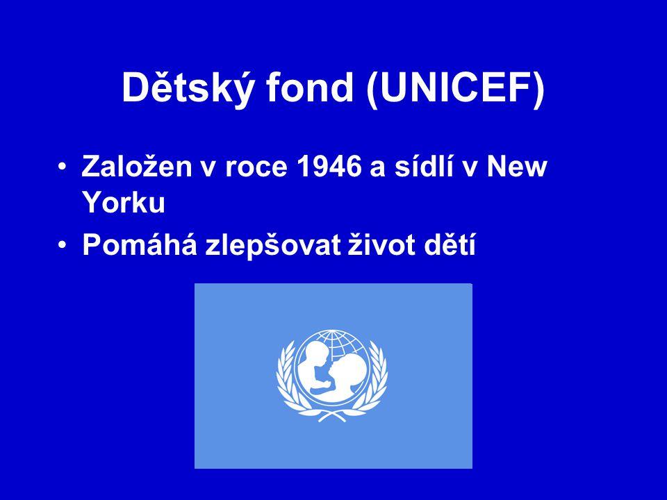 Dětský fond (UNICEF) Založen v roce 1946 a sídlí v New Yorku Pomáhá zlepšovat život dětí