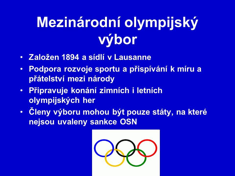 Mezinárodní olympijský výbor Založen 1894 a sídlí v Lausanne Podpora rozvoje sportu a přispívání k míru a přátelství mezi národy Připravuje konání zimních i letních olympijských her Členy výboru mohou být pouze státy, na které nejsou uvaleny sankce OSN