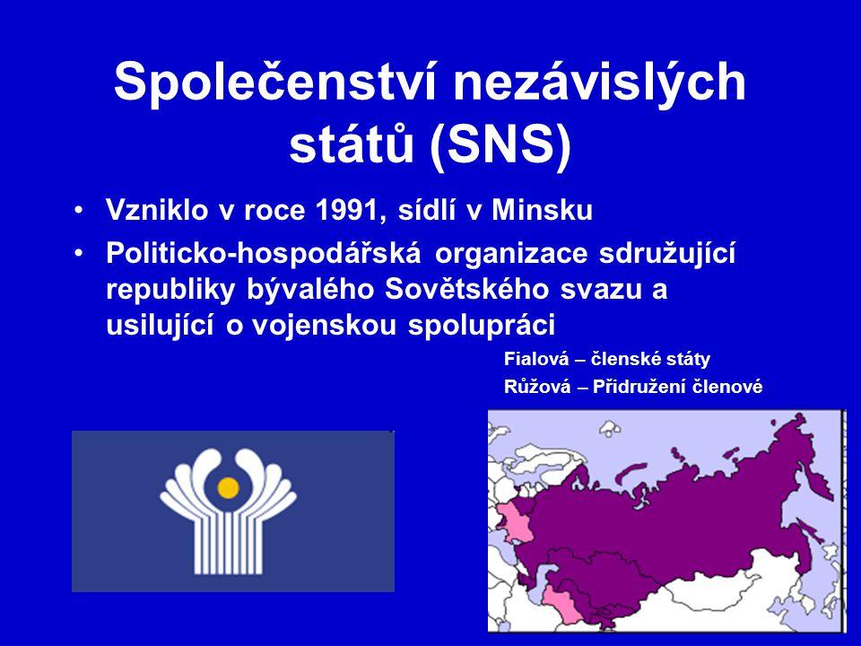 Společenství nezávislých států (SNS) Vzniklo v roce 1991, sídlí v Minsku Politicko-hospodářská organizace sdružující republiky bývalého Sovětského svazu a usilující o vojenskou spolupráci Fialová – členské státy Růžová – Přidružení členové