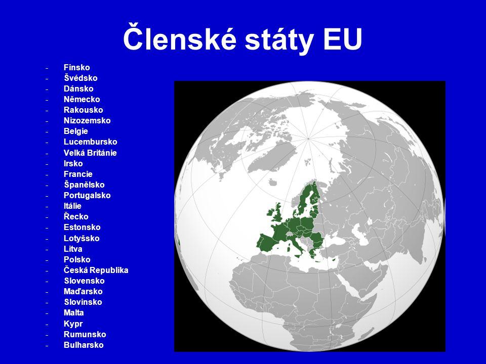 Evropský soudní dvůr Sídlí v Lucemburku Je nejvyšším soudním orgánem EU Dohlíží na jednotnost výkladu a aplikace evropského práva Řeší spory mezi státy, institucemi, podniky i soukromými osobami podle tohoto práva Dbá na to, aby příslušná ustanovení práva EU měla v případě konfliktu přednost před zákony členských států Tvoří ho 27 soudců (1 soudce z každého členského státu) jmenovaných na 6 let