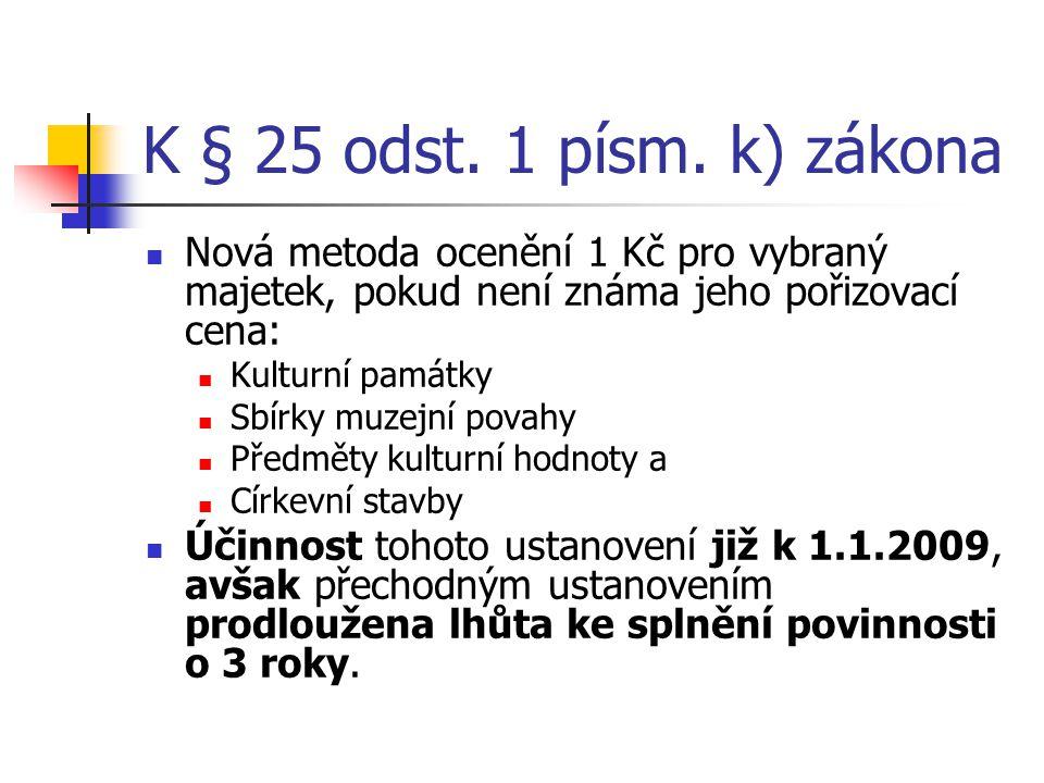K § 25 odst. 1 písm. k) zákona Nová metoda ocenění 1 Kč pro vybraný majetek, pokud není známa jeho pořizovací cena: Kulturní památky Sbírky muzejní po
