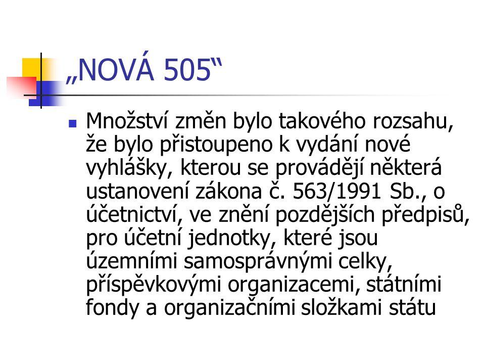 """""""NOVÁ 505"""" Množství změn bylo takového rozsahu, že bylo přistoupeno k vydání nové vyhlášky, kterou se provádějí některá ustanovení zákona č. 563/1991"""