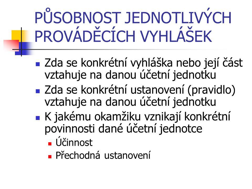 PŮSOBNOST JEDNOTLIVÝCH PROVÁDĚCÍCH VYHLÁŠEK Zda se konkrétní vyhláška nebo její část vztahuje na danou účetní jednotku Zda se konkrétní ustanovení (pr