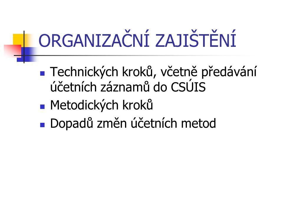 ORGANIZAČNÍ ZAJIŠTĚNÍ Technických kroků, včetně předávání účetních záznamů do CSÚIS Metodických kroků Dopadů změn účetních metod
