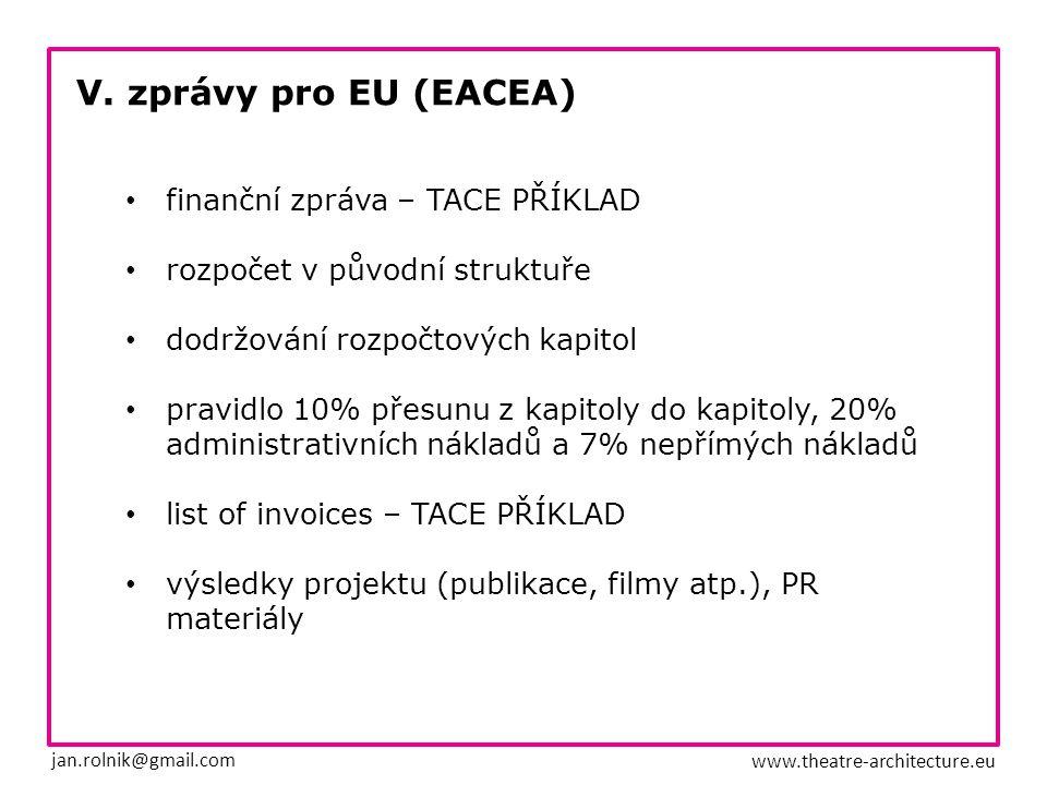 V. zprávy pro EU (EACEA) jan.rolnik@gmail.com www.theatre-architecture.eu finanční zpráva – TACE PŘÍKLAD rozpočet v původní struktuře dodržování rozpo