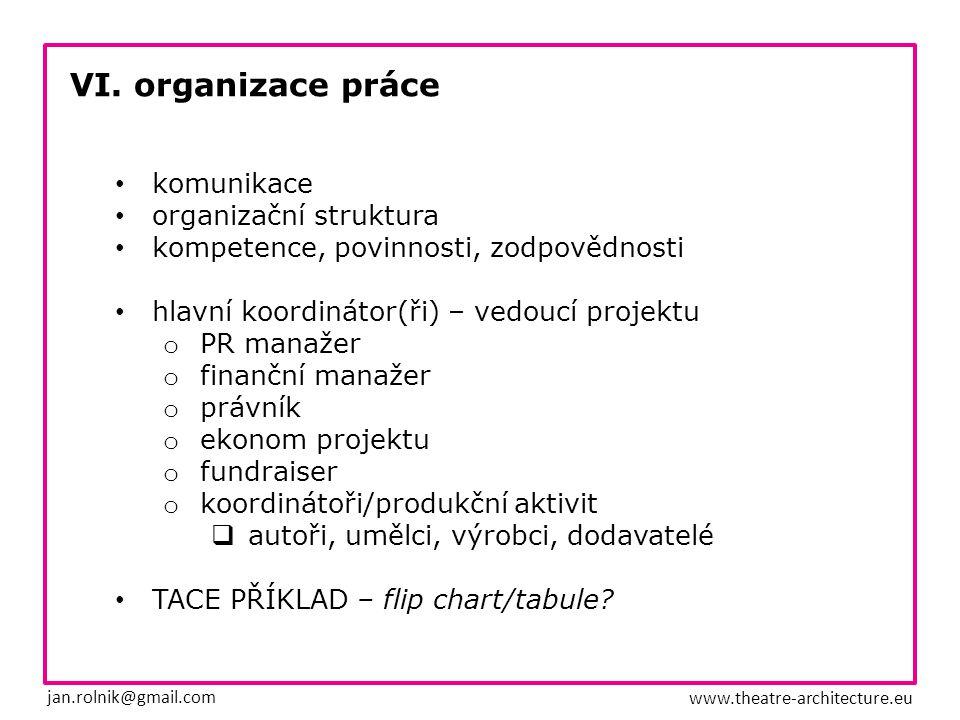 VI. organizace práce jan.rolnik@gmail.com www.theatre-architecture.eu komunikace organizační struktura kompetence, povinnosti, zodpovědnosti hlavní ko