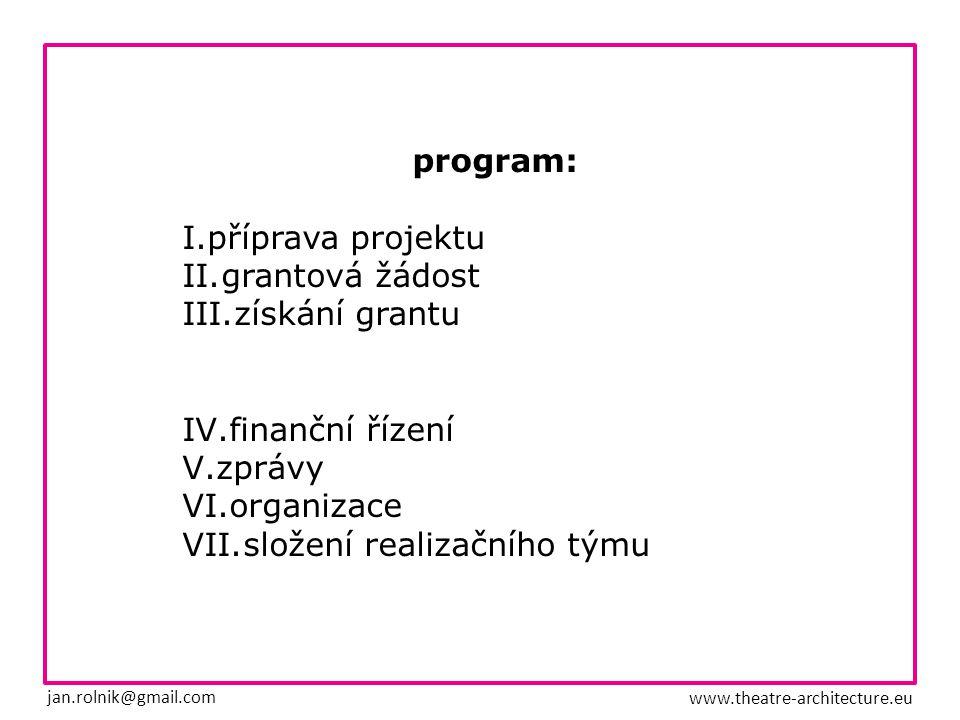 I.příprava projektu / práce na koncepci 1.obsah projektu 2.cílová skupina 3.partneři 4.financování 5.mateřská organizace 6.časové plánování jan.rolnik@gmail.com www.theatre-architecture.eu