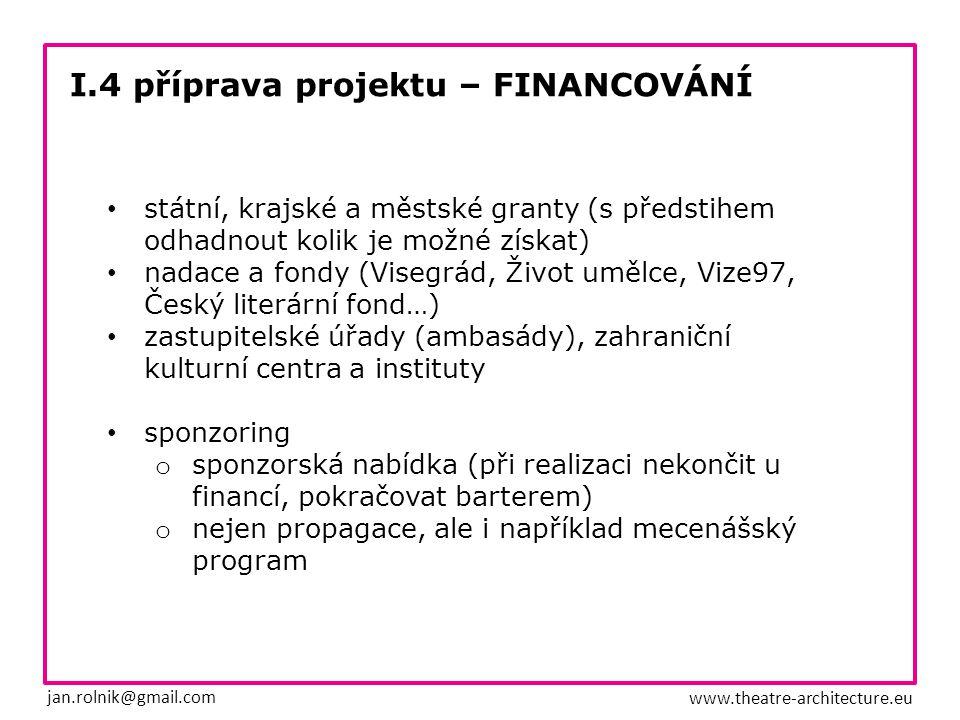 I.4 příprava projektu – FINANCOVÁNÍ jan.rolnik@gmail.com www.theatre-architecture.eu EU – 60% Ministerstva kultury a školství – 25% Mezinárodní Visegrádský Fond – 5% municipality – 2% vlastní vklad – 8%