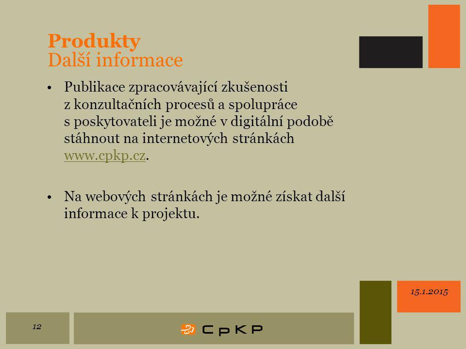 Produkty Další informace Publikace zpracovávající zkušenosti z konzultačních procesů a spolupráce s poskytovateli je možné v digitální podobě stáhnout na internetových stránkách www.cpkp.cz.