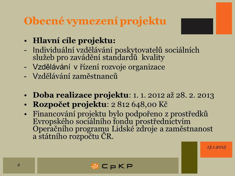 15.1.2015 2 Obecné vymezení projektu Hlavní cíle projektu: - I ndividuální vzdělávání poskytovatelů sociálních služeb pro zavádění standardů kvality - Vzdělávání v řízení rozvoje organizace -V zdělávání zaměstnanců Doba realizace projektu: 1.