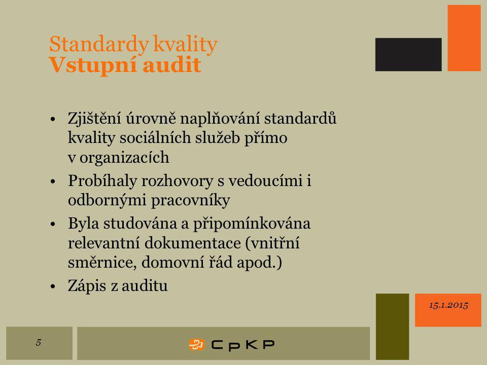Standardy kvality Vstupní audit Zjištění úrovně naplňování standardů kvality sociálních služeb přímo v organizac í ch Probíhaly rozhovory s vedoucími i odbornými pracovníky Byla studována a připomínkována relevantní dokumentace (vnitřní směrnice, domovní řád apod.) Zápis z auditu 15.1.2015 5