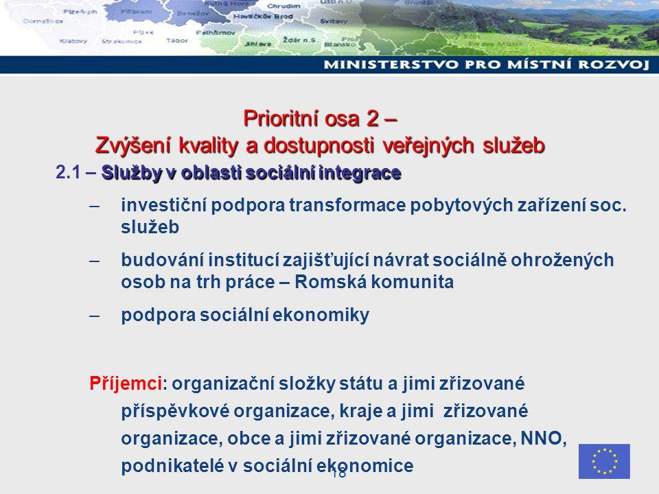 18 Prioritní osa 2 – Zvýšení kvality a dostupnosti veřejných služeb Služby v oblasti sociální integrace 2.1 – Služby v oblasti sociální integrace –investiční podpora transformace pobytových zařízení soc.