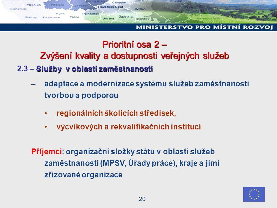 20 Prioritní osa 2 – Zvýšení kvality a dostupnosti veřejných služeb Služby v oblasti zaměstnanosti 2.3 – Služby v oblasti zaměstnanosti –adaptace a modernizace systému služeb zaměstnanosti tvorbou a podporou regionálních školících středisek, výcvikových a rekvalifikačních institucí Příjemci: organizační složky státu v oblasti služeb zaměstnanosti (MPSV, Úřady práce), kraje a jimi zřizované organizace