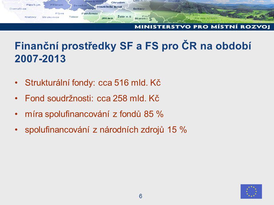 6 Finanční prostředky SF a FS pro ČR na období 2007-2013 Strukturální fondy: cca 516 mld.