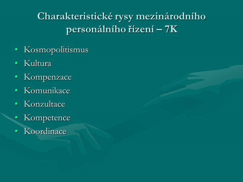 Charakteristické rysy mezinárodního personálního řízení – 7K KosmopolitismusKosmopolitismus KulturaKultura KompenzaceKompenzace KomunikaceKomunikace K