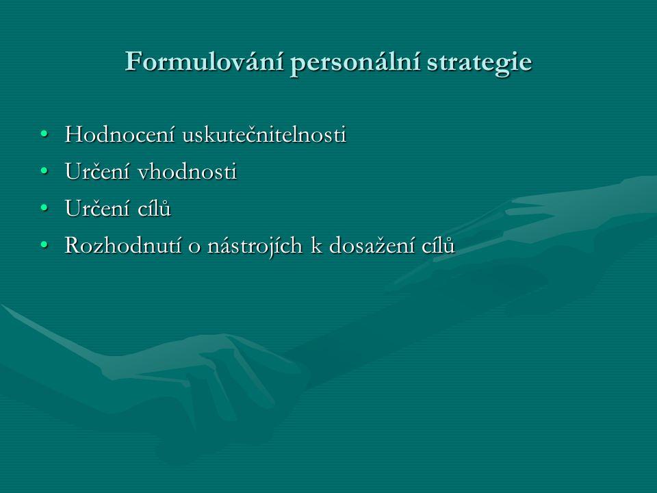 Formulování personální strategie Hodnocení uskutečnitelnostiHodnocení uskutečnitelnosti Určení vhodnostiUrčení vhodnosti Určení cílůUrčení cílů Rozhod