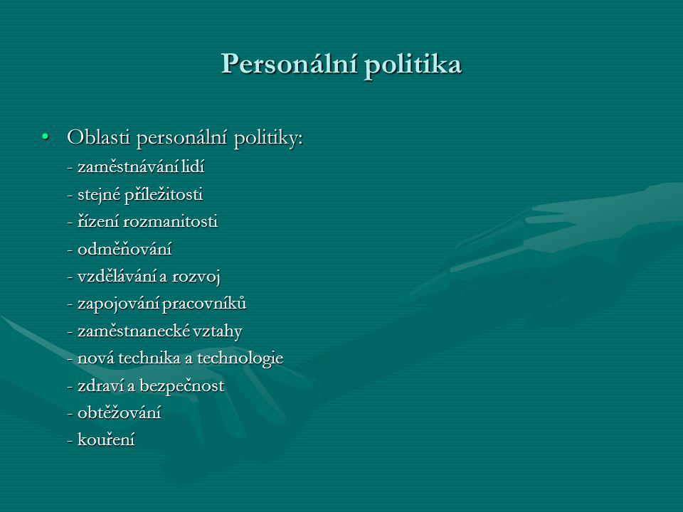 Personální politika Oblasti personální politiky:Oblasti personální politiky: - zaměstnávání lidí - stejné příležitosti - řízení rozmanitosti - odměňov