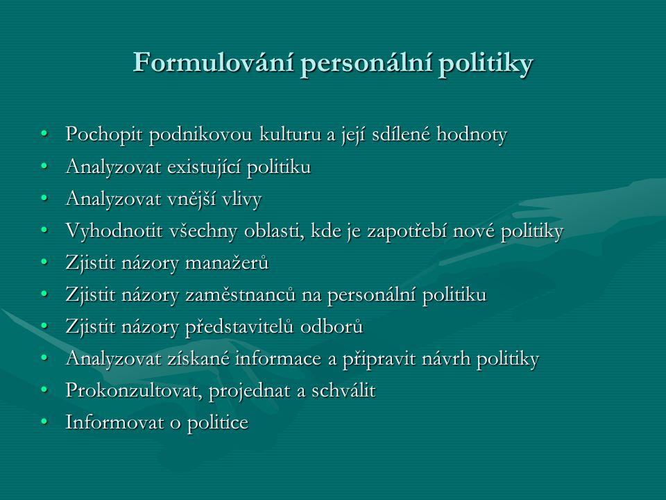 Formulování personální politiky Pochopit podnikovou kulturu a její sdílené hodnotyPochopit podnikovou kulturu a její sdílené hodnoty Analyzovat existu