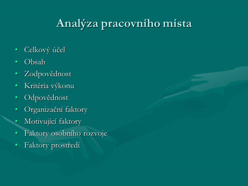 Analýza pracovního místa Celkový účelCelkový účel ObsahObsah ZodpovědnostZodpovědnost Kritéria výkonuKritéria výkonu OdpovědnostOdpovědnost Organizačn