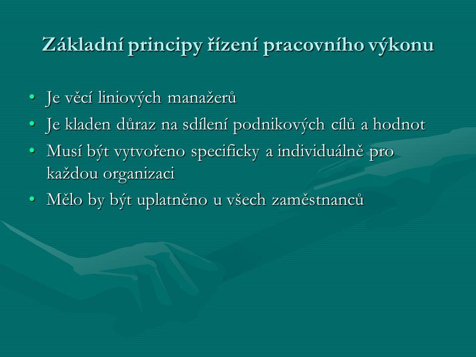 Základní principy řízení pracovního výkonu Je věcí liniových manažerůJe věcí liniových manažerů Je kladen důraz na sdílení podnikových cílů a hodnotJe
