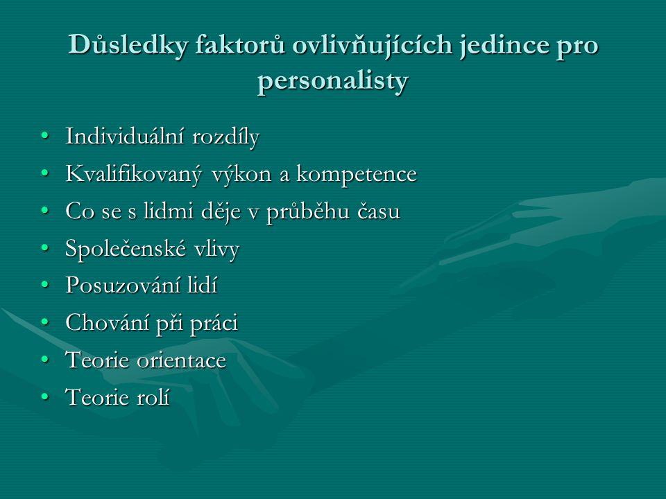Důsledky faktorů ovlivňujících jedince pro personalisty Individuální rozdílyIndividuální rozdíly Kvalifikovaný výkon a kompetenceKvalifikovaný výkon a