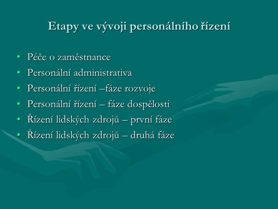 Etapy ve vývoji personálního řízení Péče o zaměstnancePéče o zaměstnance Personální administrativaPersonální administrativa Personální řízení –fáze ro