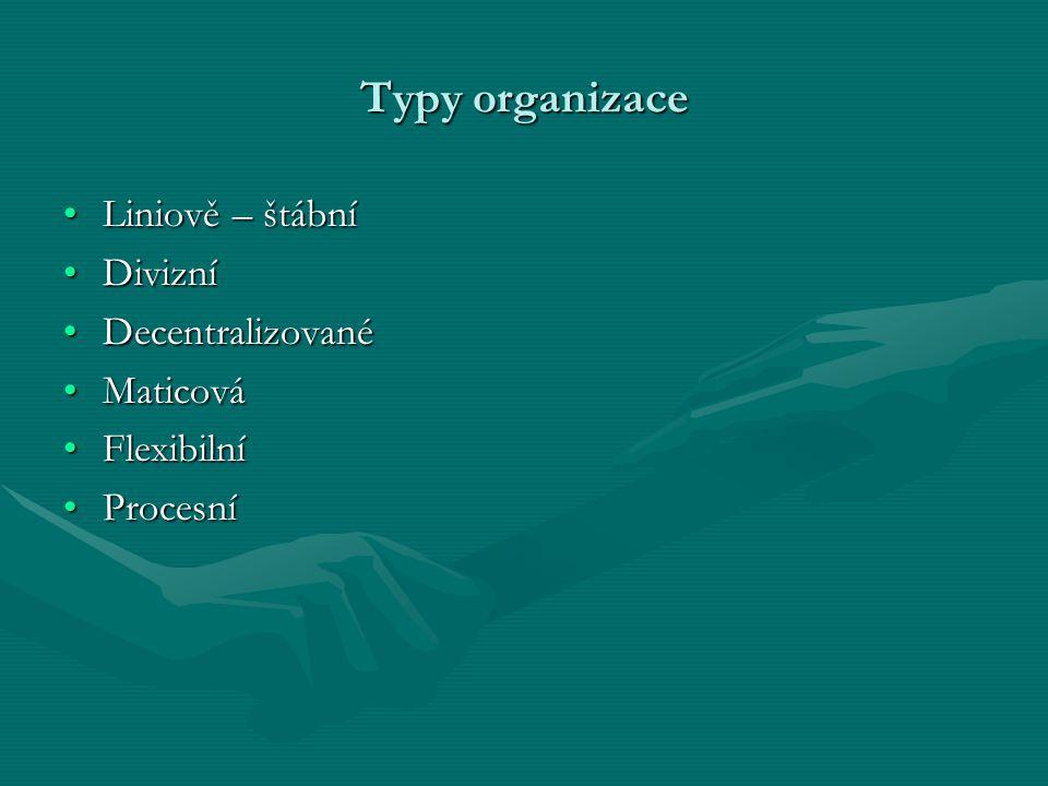 Typy organizace Liniově – štábníLiniově – štábní DivizníDivizní DecentralizovanéDecentralizované MaticováMaticová FlexibilníFlexibilní ProcesníProcesn