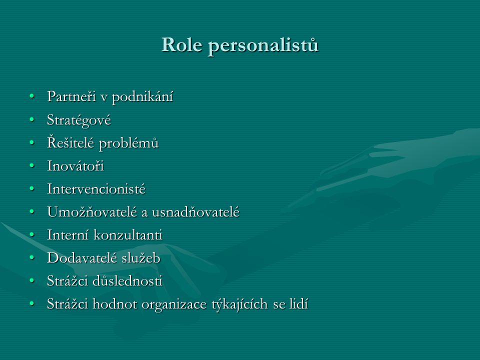 Role personalistů Partneři v podnikáníPartneři v podnikání StratégovéStratégové Řešitelé problémůŘešitelé problémů InovátořiInovátoři Intervencionisté