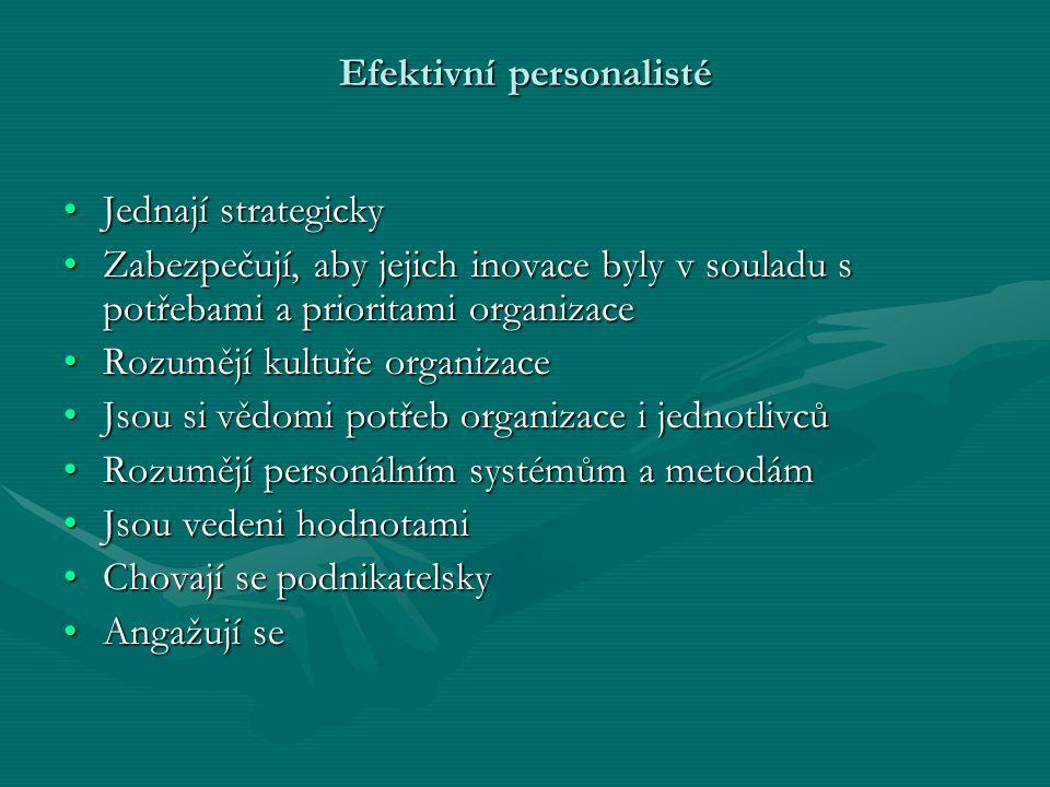 Efektivní personalisté Jednají strategickyJednají strategicky Zabezpečují, aby jejich inovace byly v souladu s potřebami a prioritami organizaceZabezp