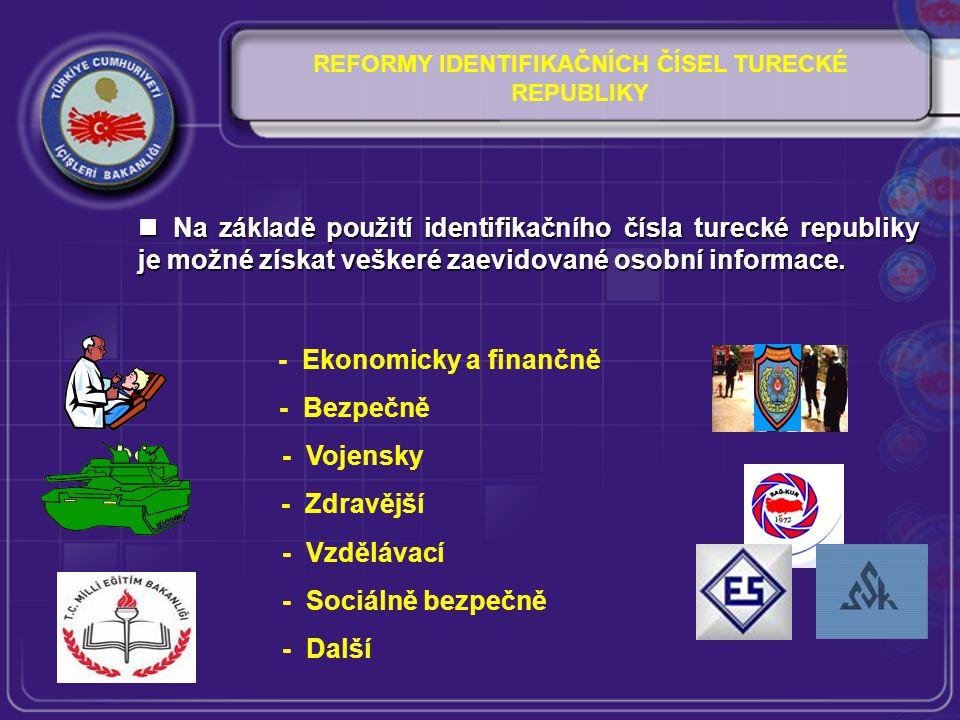 REFORMY IDENTIFIKAČNÍCH ČÍSEL TURECKÉ REPUBLIKY Na základě použití identifikačního čísla turecké republiky je možné získat veškeré zaevidované osobní informace.