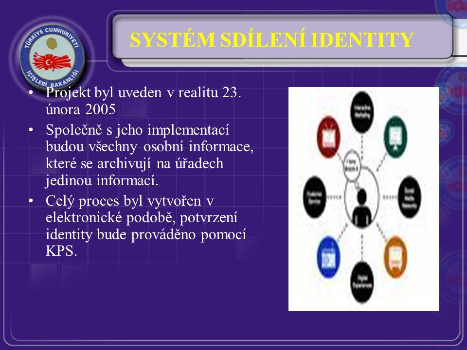 SYSTÉM SDÍLENÍ IDENTITY Projekt byl uveden v realitu 23.