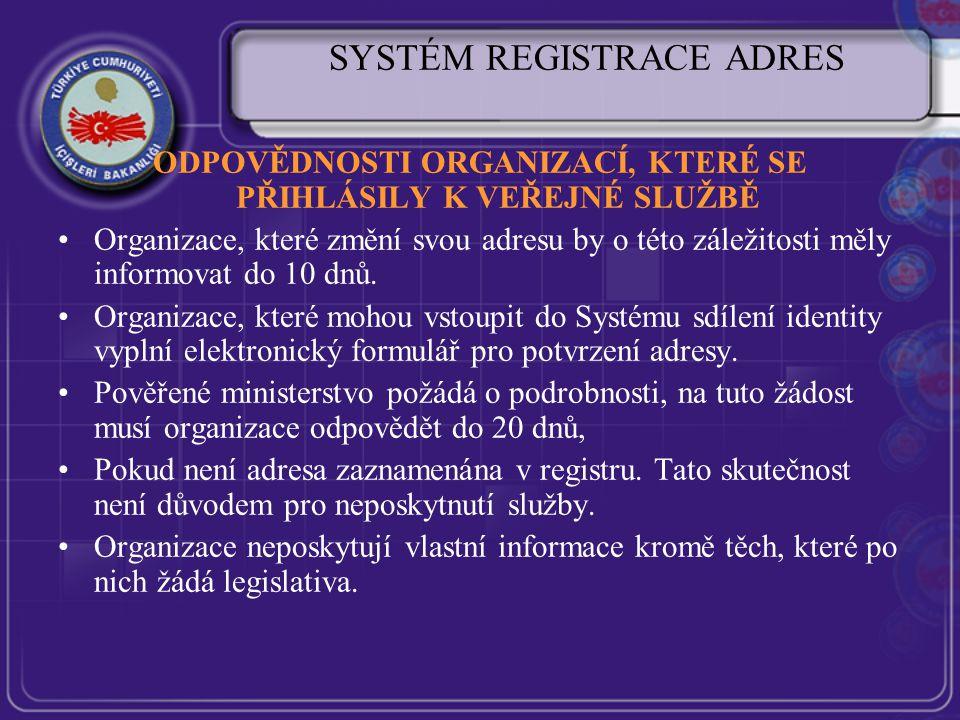 SYSTÉM REGISTRACE ADRES ODPOVĚDNOSTI ORGANIZACÍ, KTERÉ SE PŘIHLÁSILY K VEŘEJNÉ SLUŽBĚ Organizace, které změní svou adresu by o této záležitosti měly informovat do 10 dnů.