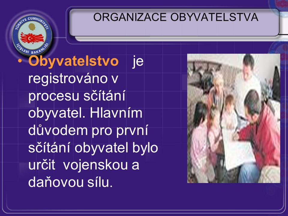 ORGANIZACE OBYVATELSTVA Obyvatelstvo je registrováno v procesu sčítání obyvatel.