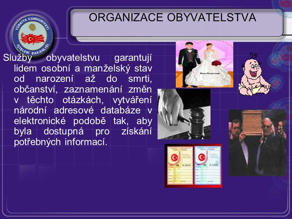 ORGANIZACE OBYVATELSTVA Služby obyvatelstvu garantují lidem osobní a manželský stav od narození až do smrti, občanství, zaznamenání změn v těchto otázkách, vytváření národní adresové databáze v elektronické podobě tak, aby byla dostupná pro získání potřebných informací.