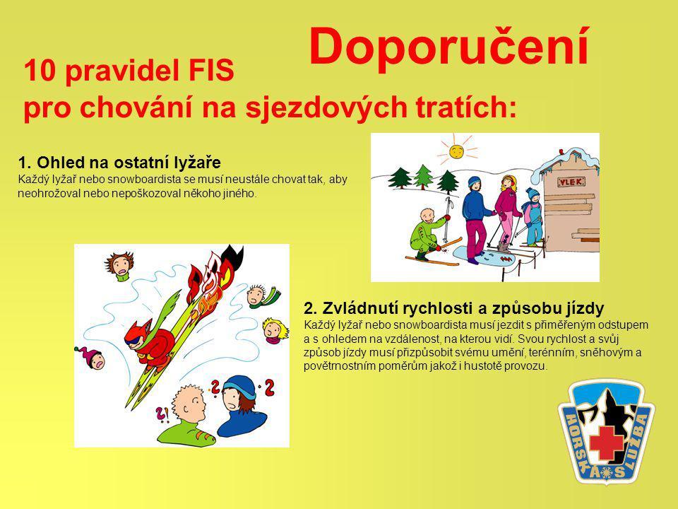 Doporučení 10 pravidel FIS pro chování na sjezdových tratích: 1.