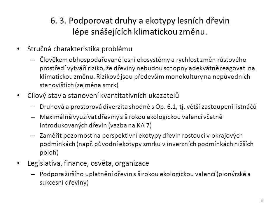 6. 3. Podporovat druhy a ekotypy lesních dřevin lépe snášejících klimatickou změnu.