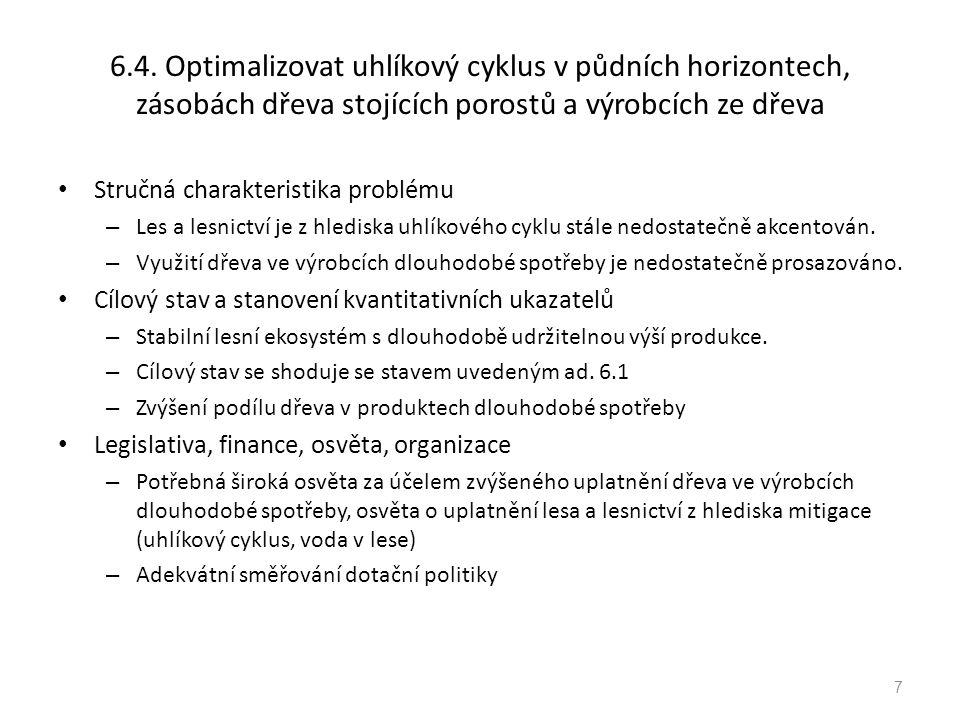 6.4. Optimalizovat uhlíkový cyklus v půdních horizontech, zásobách dřeva stojících porostů a výrobcích ze dřeva Stručná charakteristika problému – Les