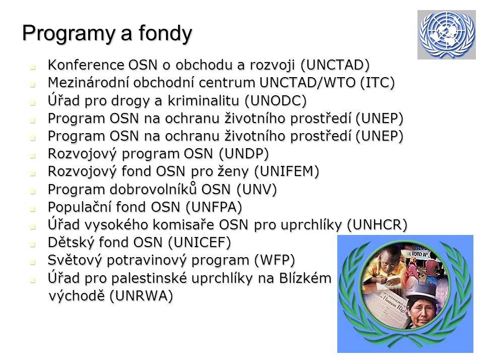 Programy a fondy Konference OSN o obchodu a rozvoji (UNCTAD) Konference OSN o obchodu a rozvoji (UNCTAD) Mezinárodní obchodní centrum UNCTAD/WTO (ITC) Mezinárodní obchodní centrum UNCTAD/WTO (ITC) Úřad pro drogy a kriminalitu (UNODC) Úřad pro drogy a kriminalitu (UNODC) Program OSN na ochranu životního prostředí (UNEP) Program OSN na ochranu životního prostředí (UNEP) Rozvojový program OSN (UNDP) Rozvojový program OSN (UNDP) Rozvojový fond OSN pro ženy (UNIFEM) Rozvojový fond OSN pro ženy (UNIFEM) Program dobrovolníků OSN (UNV) Program dobrovolníků OSN (UNV) Populační fond OSN (UNFPA) Populační fond OSN (UNFPA) Úřad vysokého komisaře OSN pro uprchlíky (UNHCR) Úřad vysokého komisaře OSN pro uprchlíky (UNHCR) Dětský fond OSN (UNICEF) Dětský fond OSN (UNICEF) Světový potravinový program (WFP) Světový potravinový program (WFP) Úřad pro palestinské uprchlíky na Blízkém Úřad pro palestinské uprchlíky na Blízkém východě (UNRWA) východě (UNRWA)