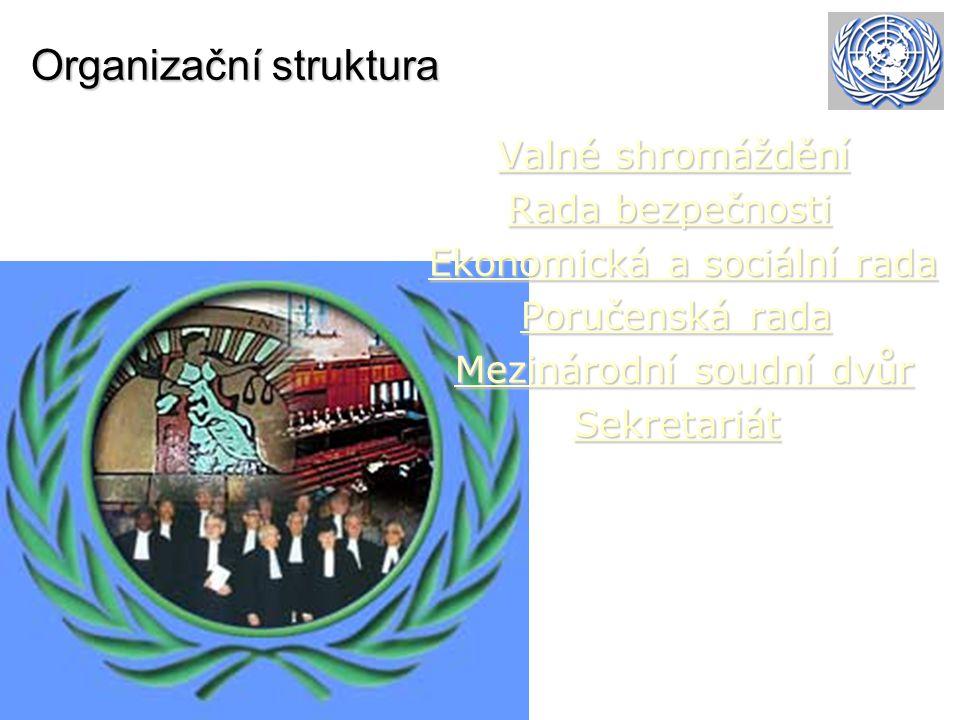 Organizační struktura Valné shromáždění Valné shromáždění Valné shromáždění Valné shromáždění Rada bezpečnosti Rada bezpečnostiRada bezpečnostiRada be